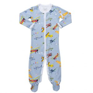 HART + LAND Footed Bodysuit with Airplane print