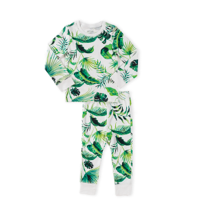 hart + land toddler/big kid pima cotton pj set - banana leaves