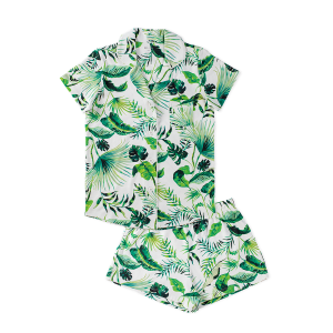 HART + LAND Women's Pima cotton short sleeve pj set - banana leaves
