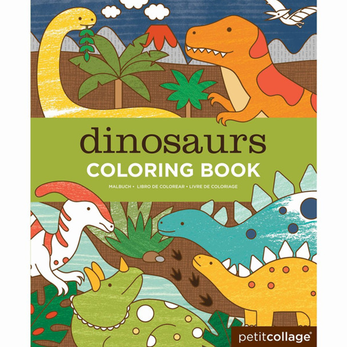 Petit Collage Coloring Book Dinosaurs Thetot