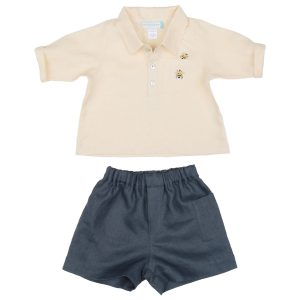 Poeme and Poesie Bee Shirt in Blue Shorts