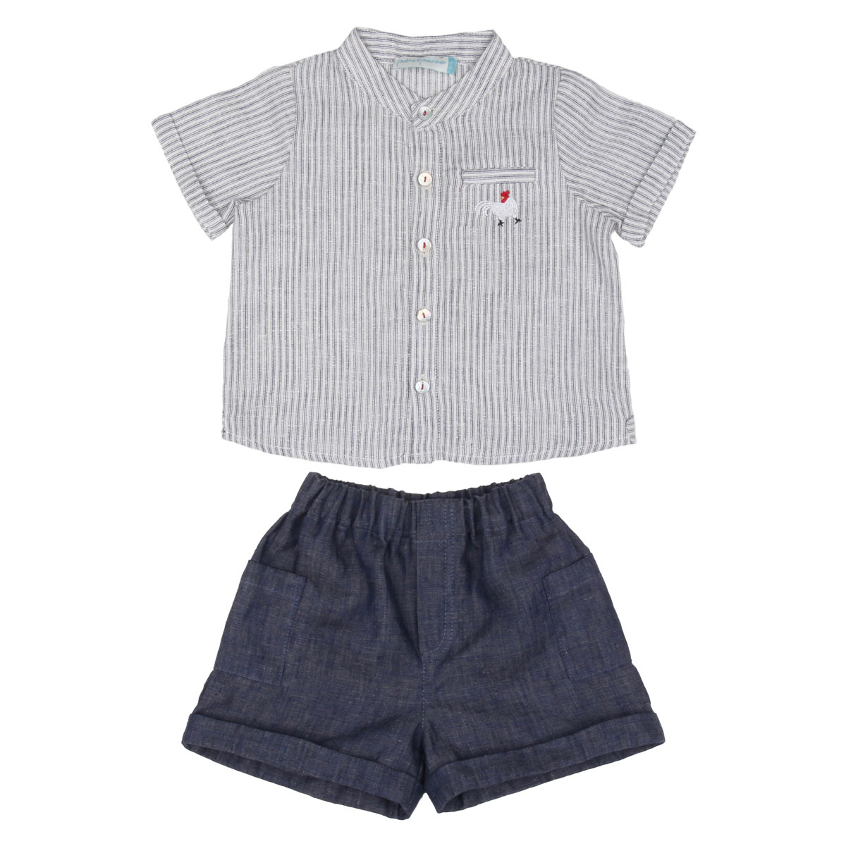 Poeme and Poesie Linen Striped Shirt in Blue Shorts