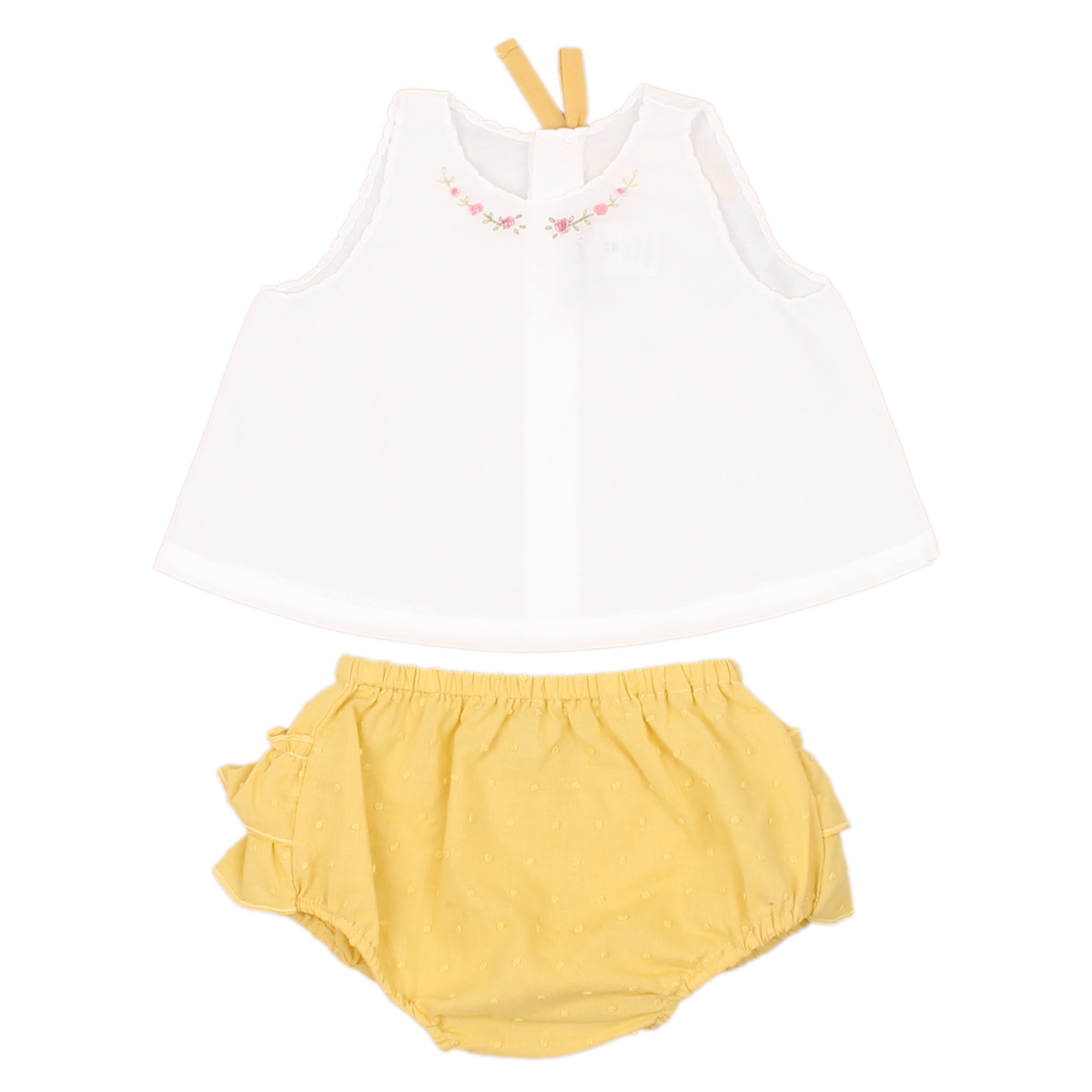 Poeme + Poesie White Top and Yellow Bloomer Set