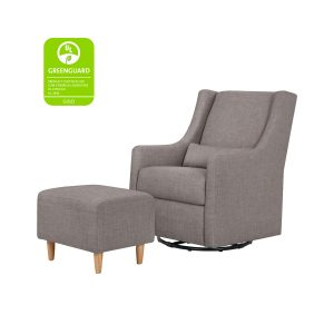 Babyletto Toco Glider and Ottoman in Grey Tweed