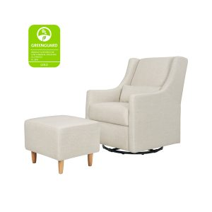 Babyletto Toco Glider and Ottoman in White Linen