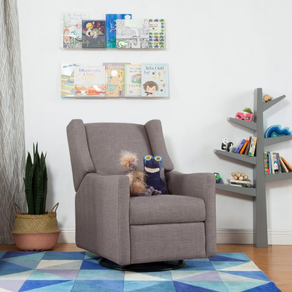 Kiwi Glider Recliner with Electronic Control and USB in Tweed Grey