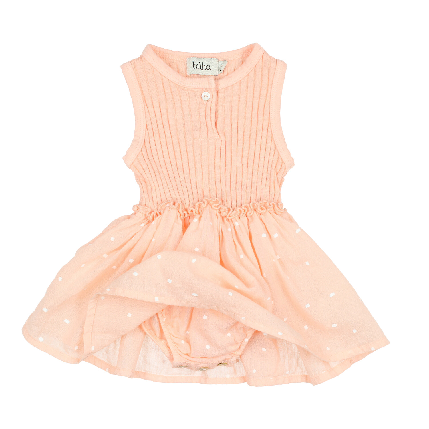 Buho Baby Susie Rib Crepe Combination Dress Blush FW19