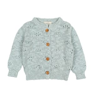 Buho Amelie Jacquard Cardigan in Misty Blue