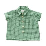 Oeuf Baby/Toddler/Big Kid Button Down Shirt – Green Checks
