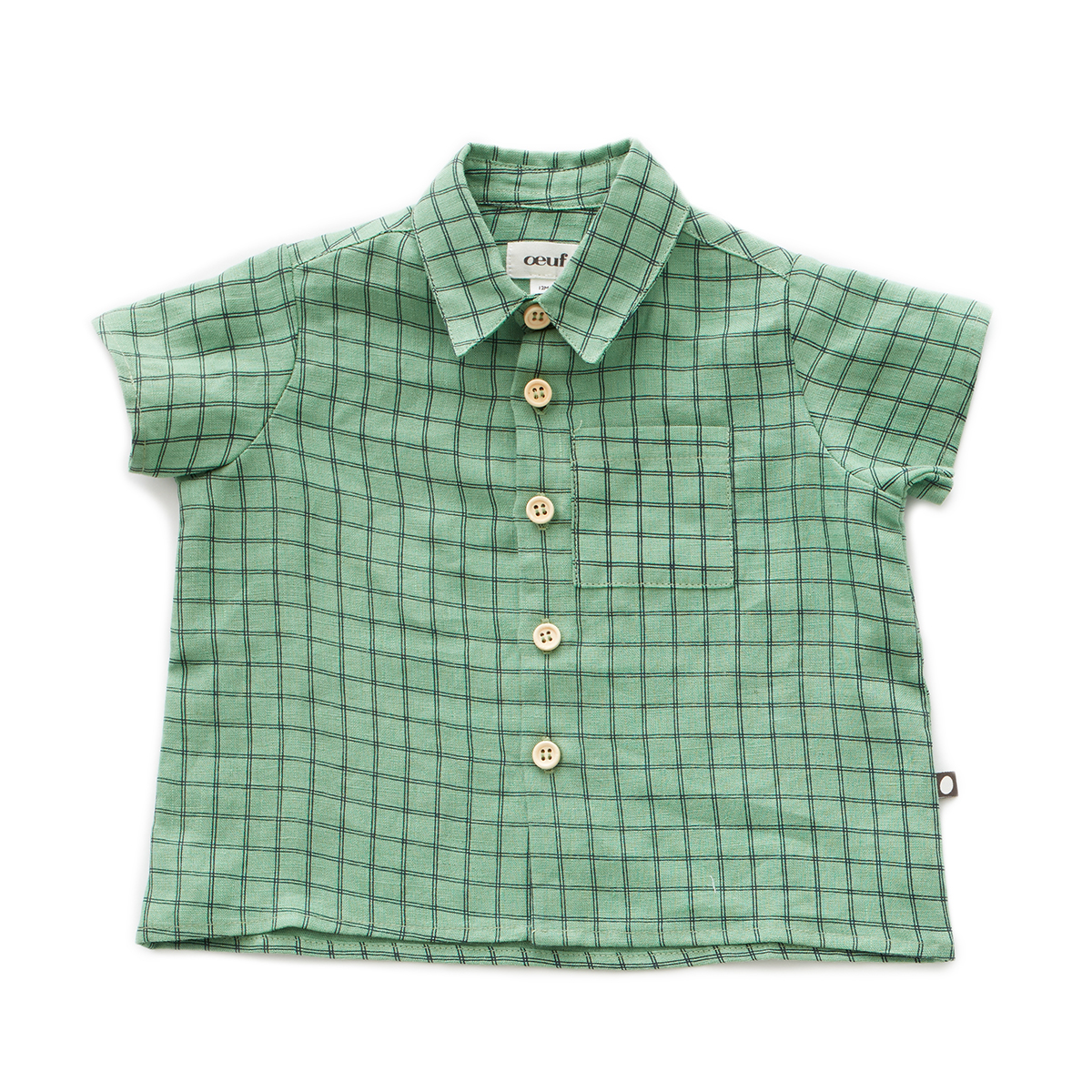 Oeuf Baby/Toddler/Big Kid Button Down Shirt - Green Checks