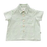 Oeuf Toddler/Big Kid Button Down Shirt – Green Dots