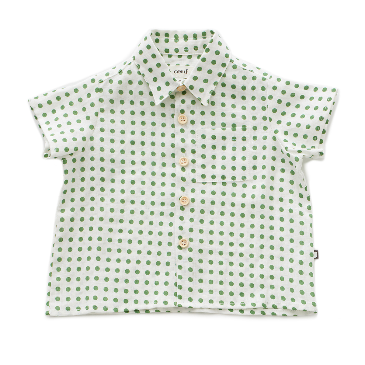 Oeuf Toddler/Big Kid Button Down Shirt - Green Dots