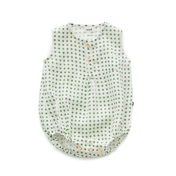 Oeuf Baby/Toddler Pocket Romper – Green Dots