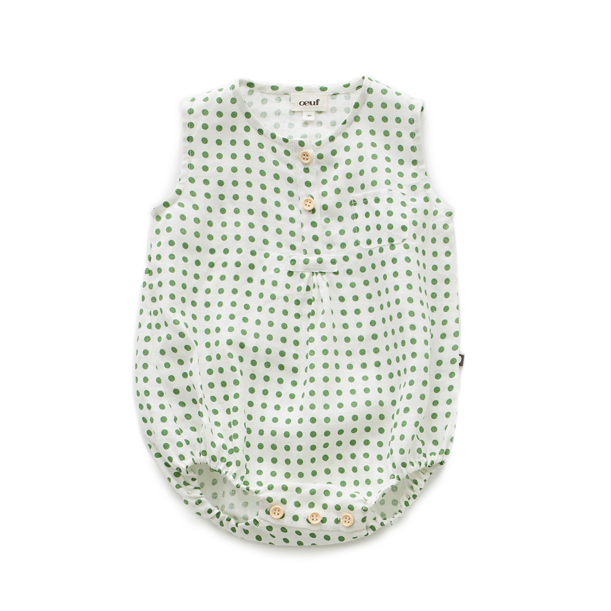 Oeuf Baby/Toddler Pocket Romper - Green Dots