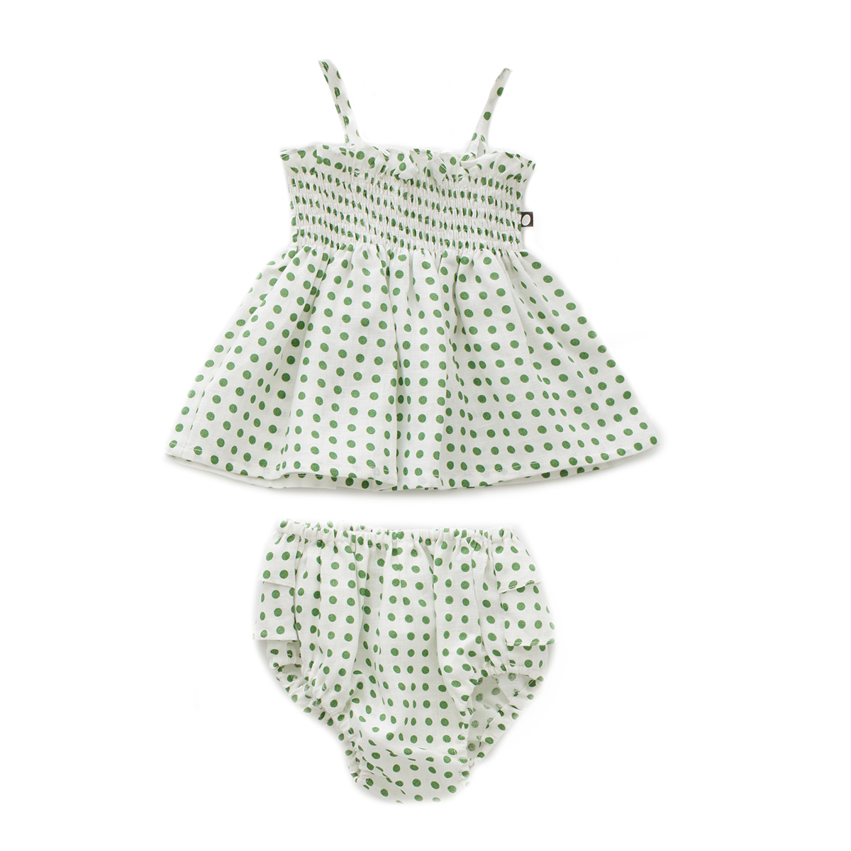 Oeuf Baby/Toddler Ruffle Bloomer Set - Green Dots
