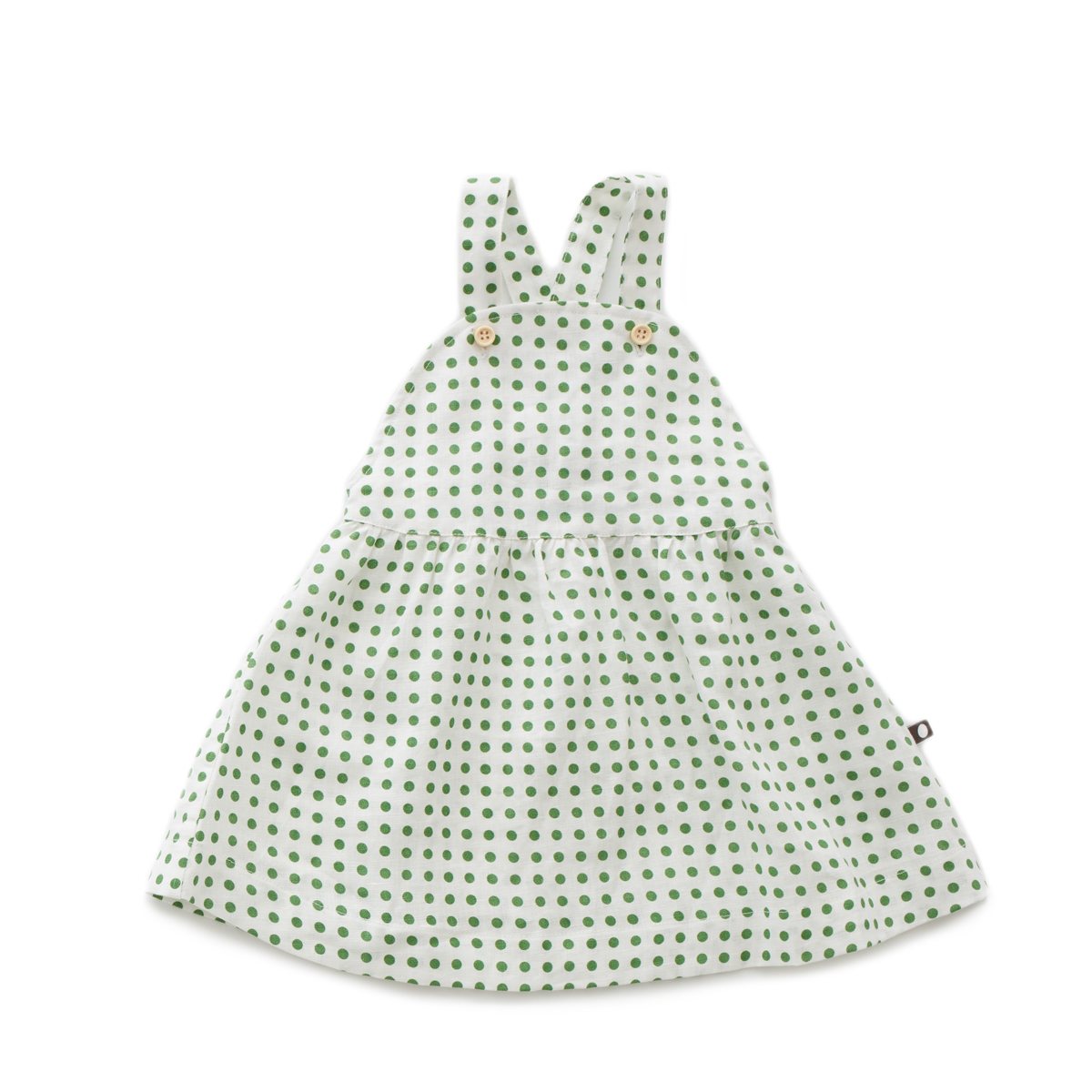 Oeuf Overall Dress in Green Dots