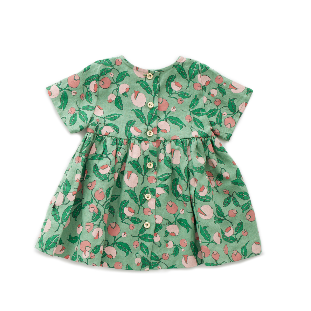 Oeuf Short Sleeve Dress in Green Flowers
