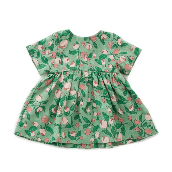 OeufSS20ShortSleeveDressGreenFlowers1