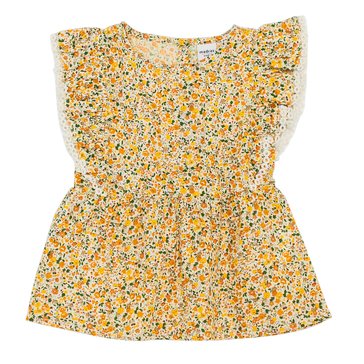 Madras Made Top in Yellow Floral