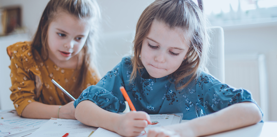 Two sisters doing homework together