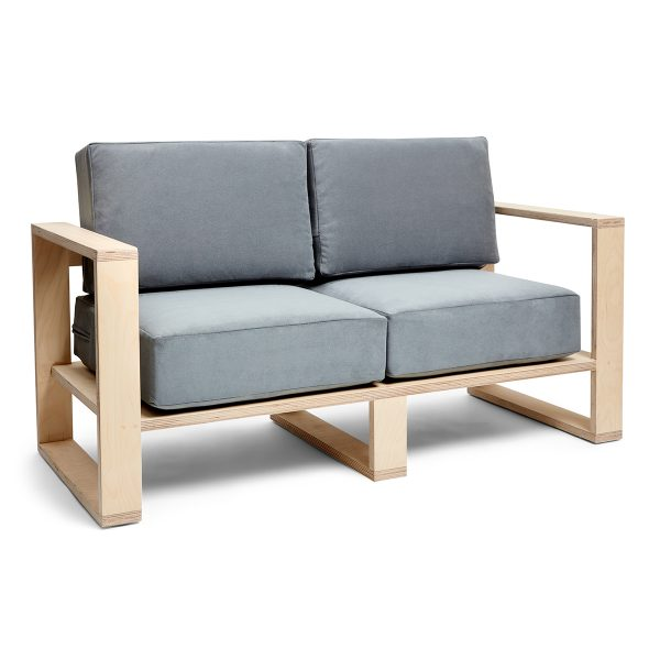 Franklin + Emily Two Seater Sofa Deep French Grey