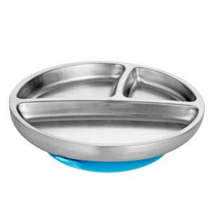 Avanchy Stainless Steel Toddler Plate Blue