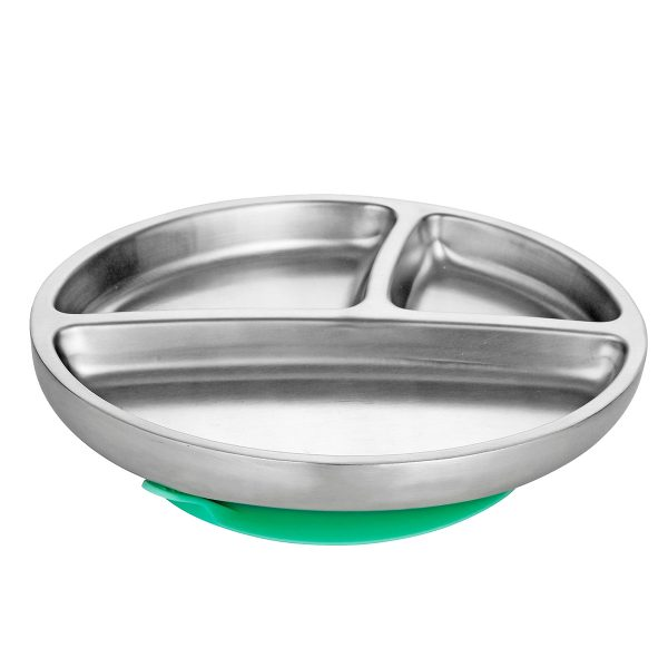 Avanchy Stainless Steel Toddler Plate Green