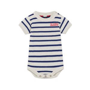 Animals Observatory SS20 Chimp Baby Body Blue Stripes