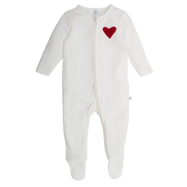 MORI Baby Hearts Zip-Up Sleepsuit
