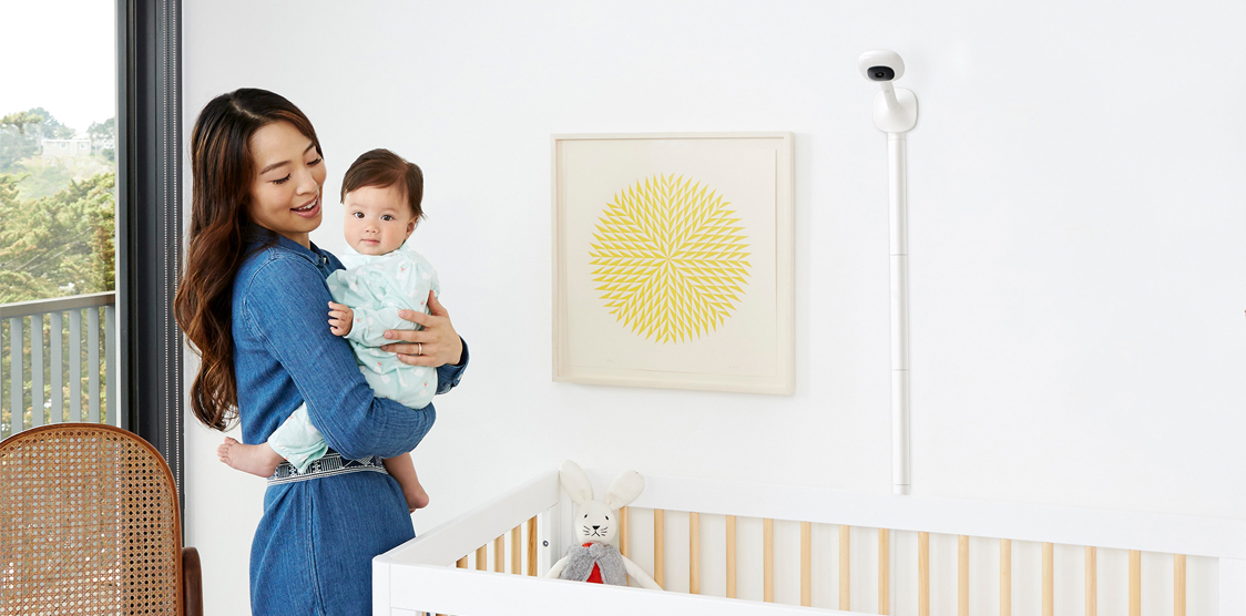 Nanit plus baby monitor in a nursery