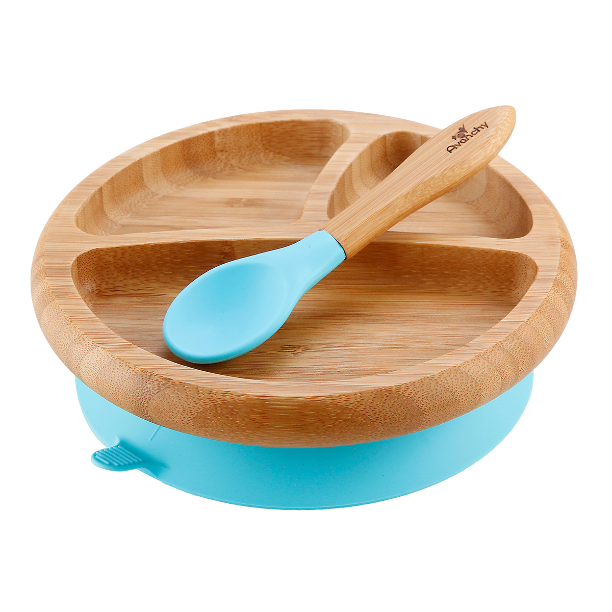 Avanchy Bamboo Stay Put Suction Baby Plate and Spoon Blue