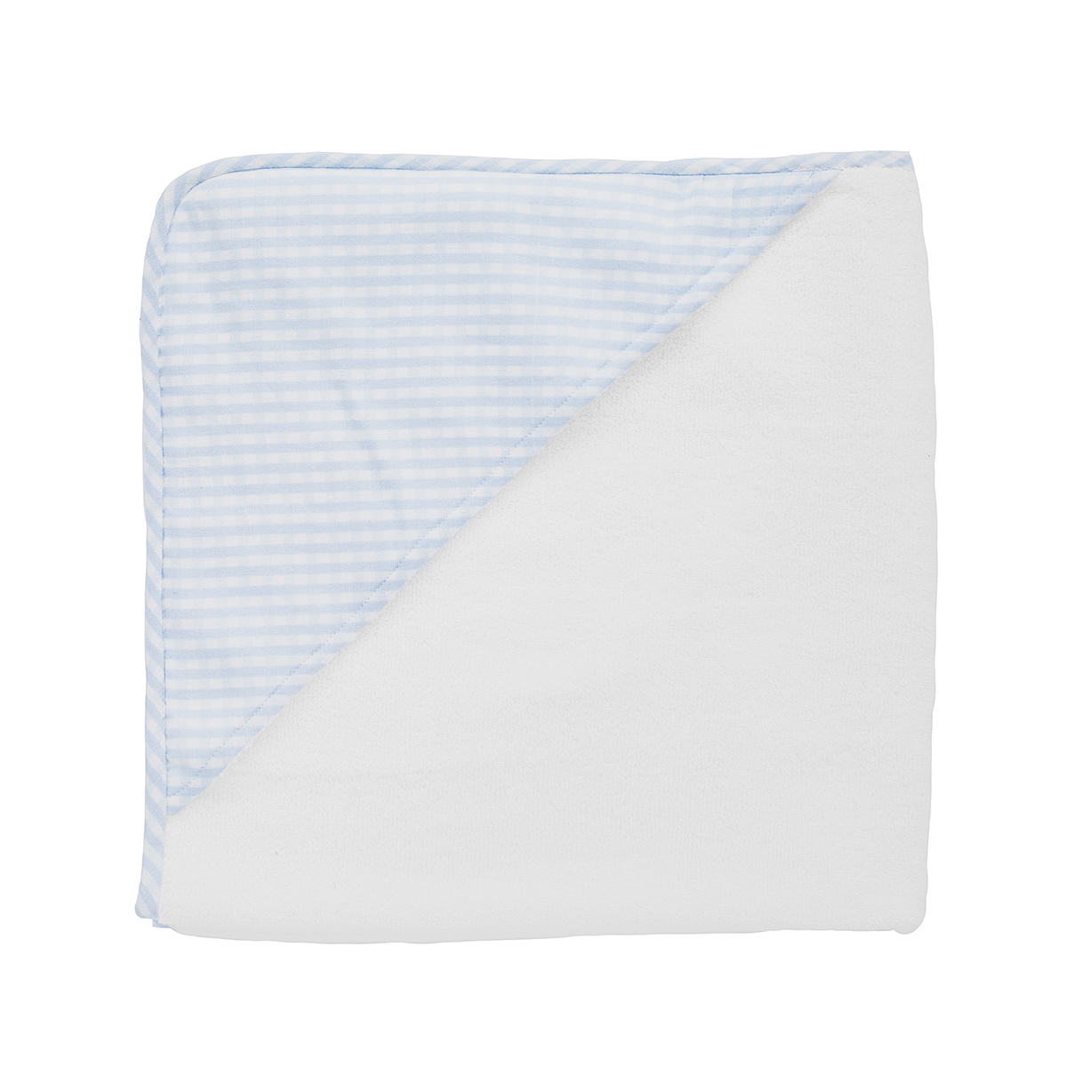 Louelle Hooded Towel-Pale Blue Gingham