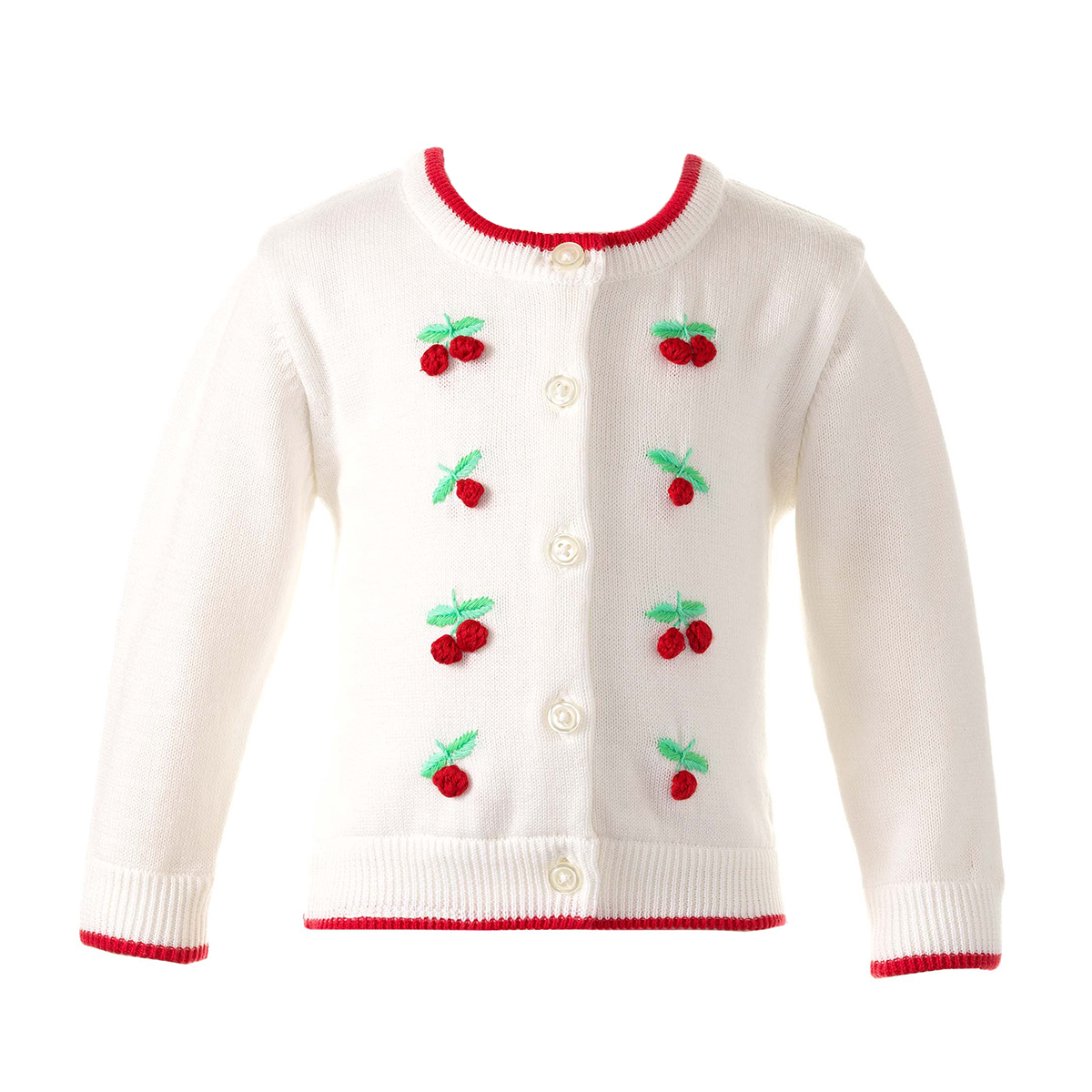 Rachel Riley Baby/Toddler/Big Kid Cherry Embroidered Cardigan
