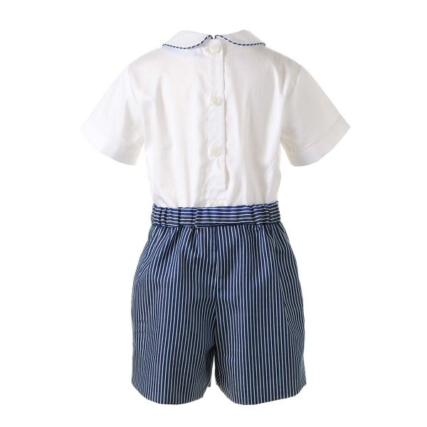 Rachel Riley Baby/Toddler Pintuck Shirt & Striped Short Set