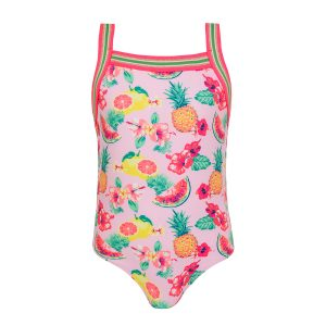 Sunuva Baby/Toddler/Big Kid Pink Aloha Fruit Glitter Trim Swimsuit
