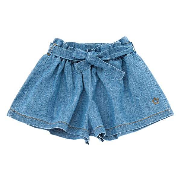 Tocotó Vintage Denim Wide Shorts with Belt
