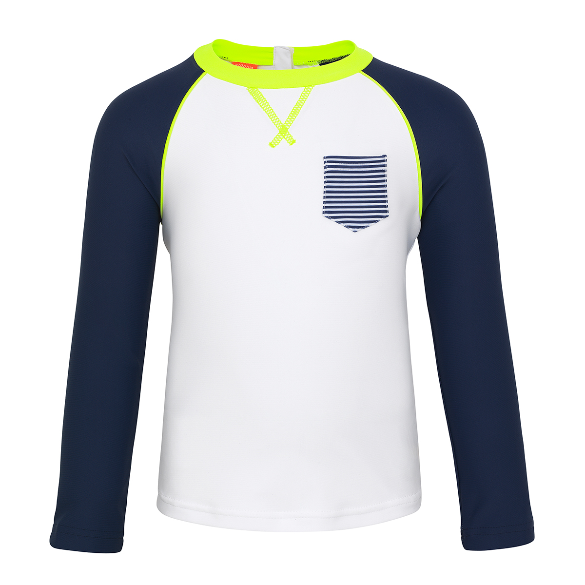 Sunuva Baby White/Navy Long Sleeve Rash Vest
