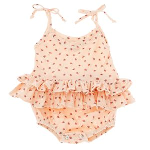 Tocotó Vintage Strawberry Print Bodysuit with Double Ruffle