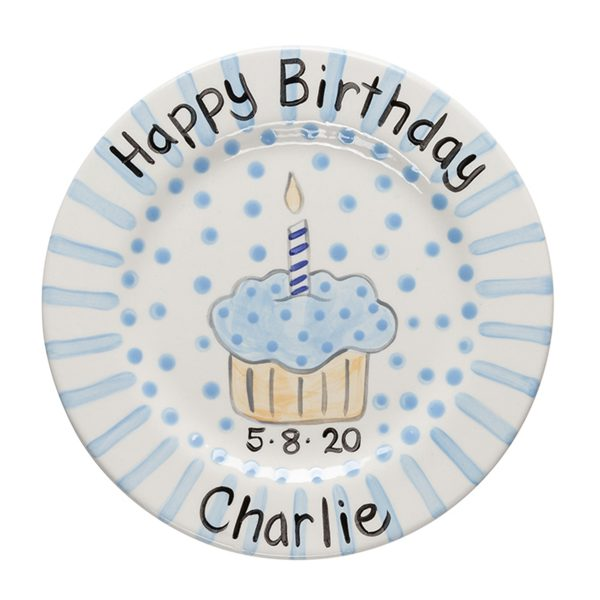 Caroline & Co Birthday Plate – Blue Stripe