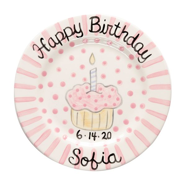 Caroline & Co Birthday Plate – Pink Stripe