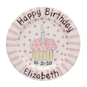 Caroline & Co Birthday Plate - Pink Stripe