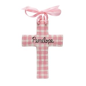 Caroline & Co Large Plaid Cross - Pink