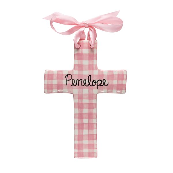 Caroline & Co Large Plaid Cross – Pink
