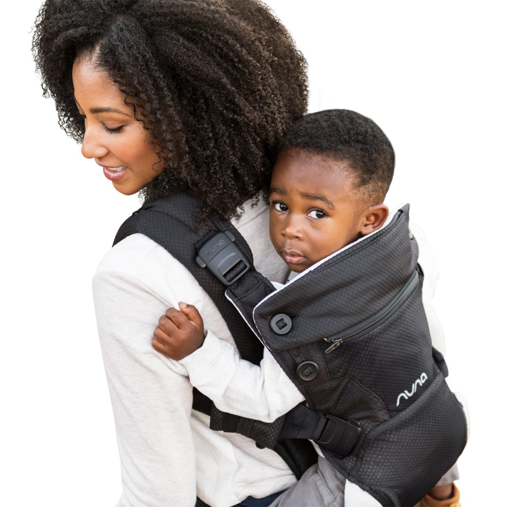 Nuna Cudl Carrier in Night lifestyle image mom and son