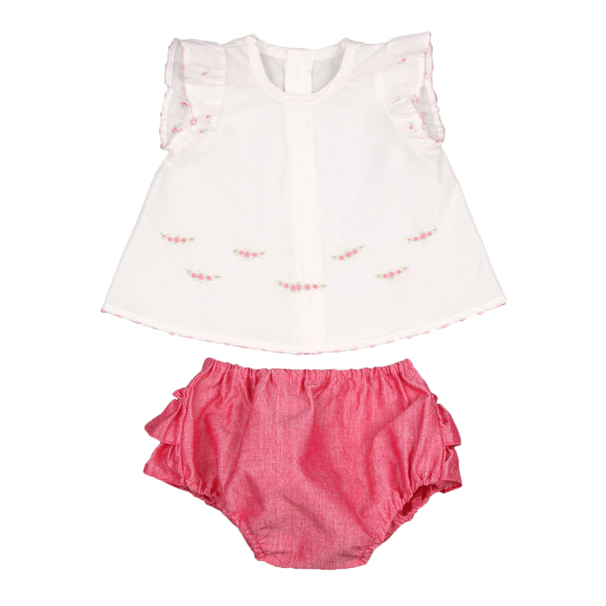 Poeme & Posie White Top and Hot Pink Bloomer Set