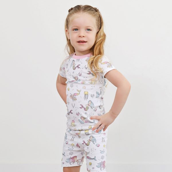 Baby Noomie Two Piece PJ Short Sleeve/Short Set- Mermaid