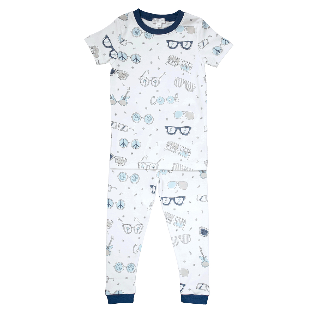 Baby Noomie Two Piece PJ Short Sleeve/ Shorts- Blue Shades