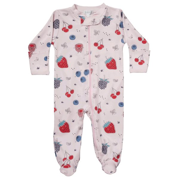 Baby Noomie Zipper Footie – Berries