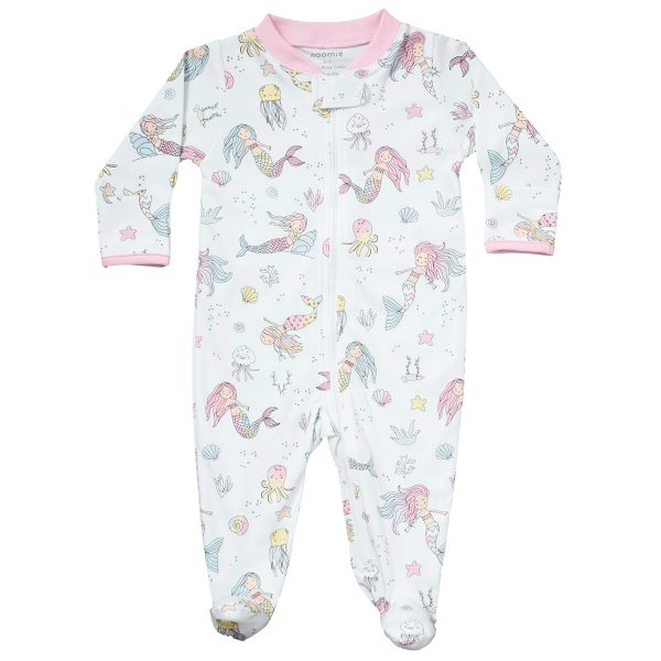 Baby Noomie Zipper Footie- Mermaids
