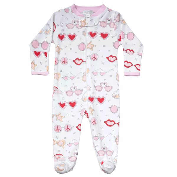 Baby Noomie Zipper Footie- Pink Shades